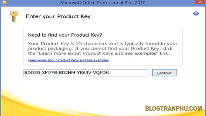 Hướng dẫn nhập key office 2010