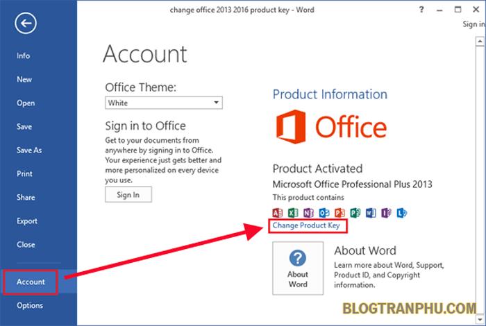 Hình ảnh Office 2016 sau khi kích hoạt thành công