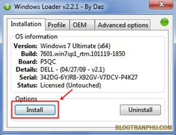 """Chọn """"Install"""" để tiến hành active windows 7"""