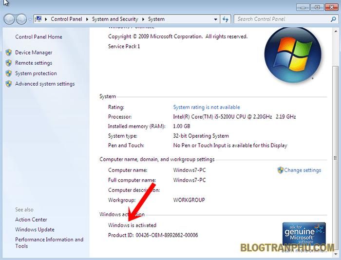 Trạng thái hệ điều hành windows 7 đã được active thành công!