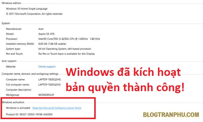 Hệ điều hành Windows 10 đã được kích hoạt bản quyền thành công!