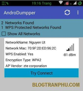 Quét wifi bằng AndroDumpper