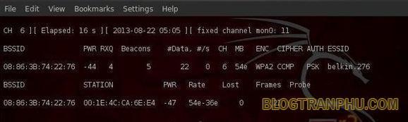 Gõ tiếp vào khung terminal dòng lệnh: ariodump-ng –bssid 08:86:30:74:22:76 -c 6 –write WPArack mon0