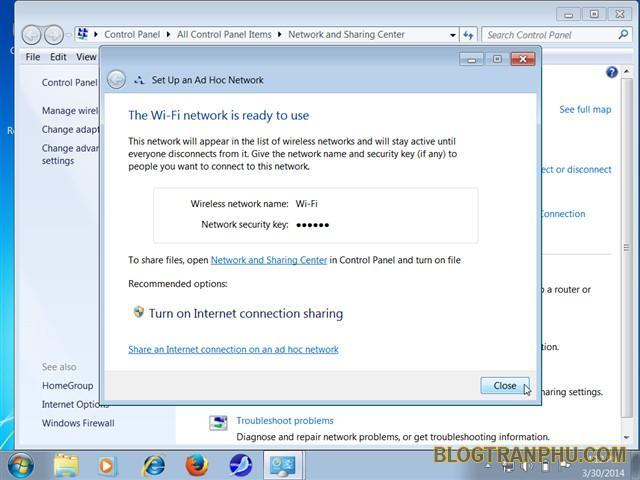 Hướng dẫn chia sẻ mạng Wi-Fi bằng Network and Sharing Center