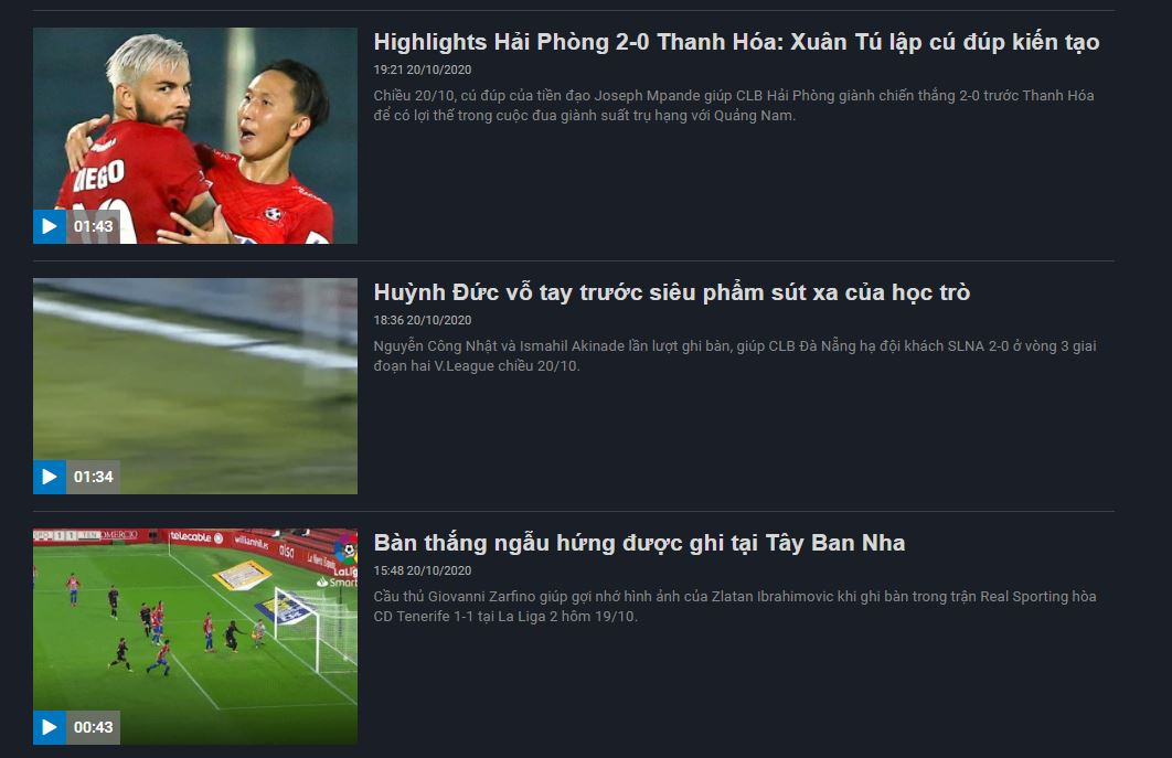 5 trang tổng hợp highlight bóng đá mượt nhất Việt Nam