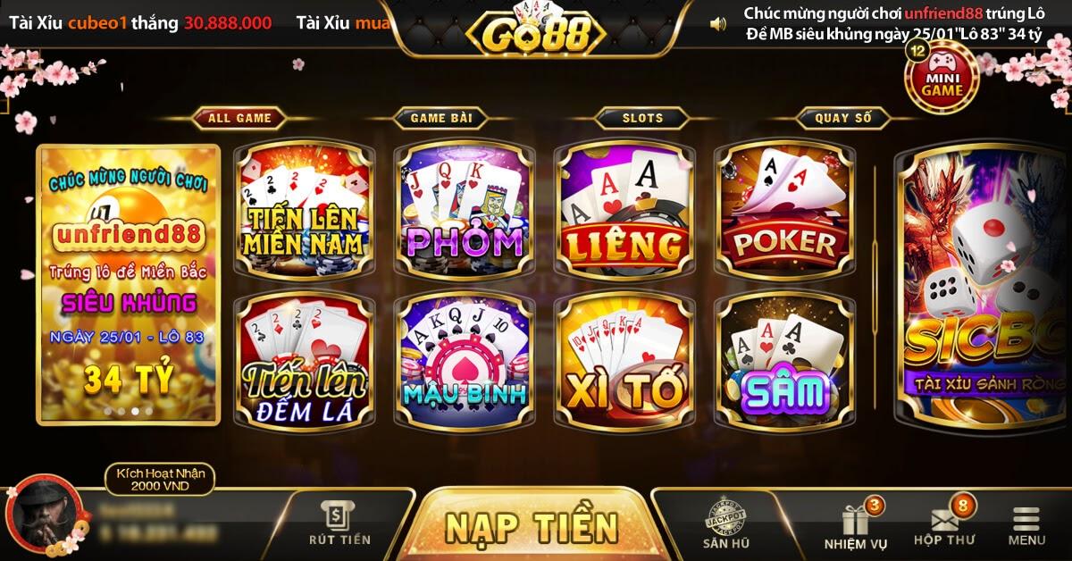 Cổng game Go88 địa chỉ đánh bài đổi thưởng uy tín nhất hiện nay
